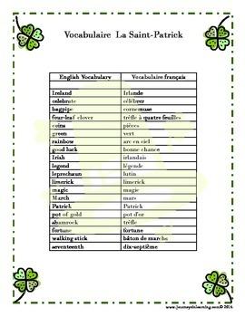 La Saint Patrick--Acrostiche
