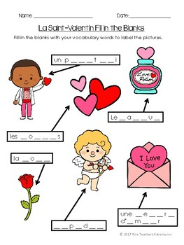 La Saint-Valentin - French Valentine's Day Vocabulary Puzzles and Quiz (Gr.4-7)