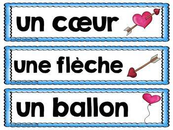 FRENCH Valentine's Day Word Wall Cards / Saint-Valentin Mots-étiquettes