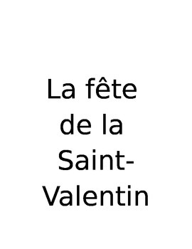 La Saint-Valentin Words for Flash Cards