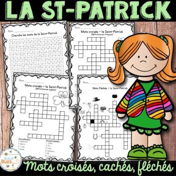 La Saint-Patrick - mots croisés cachés fléchés -  French St. Patrick's Day