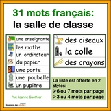 La Salle de Classe - French Vocabulary Word Wall of Classroom Items