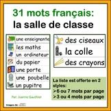 La Salle de Classe - French Vocabulary Word Wall of Classr