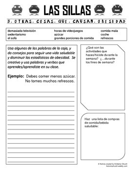 La Salud Writing Activity- Commands/Advice