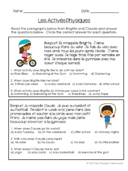 La Santé - Beginner French Health and Well-Being FULL UNIT (Gr. 4-7)