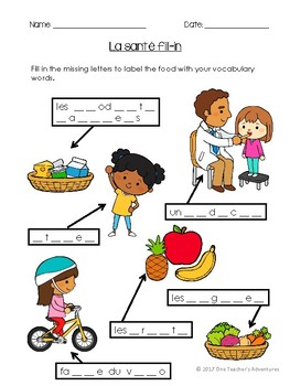 La Santé - Beginner French Health and Well-Being Vocabulary Activities and Quiz
