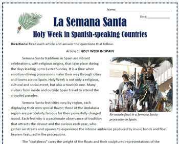 La Semana Santa in Spain and Mexico: Reading, Activities, and Substitute Plan