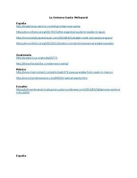 La Semana Santa webquest