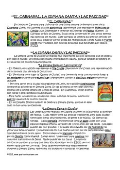 La Semana Santa/Las Pascuas Reading and Comprehension Questions in Spanish