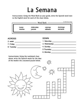 la semana spanish days of the week crossword worksheet by miss mindy. Black Bedroom Furniture Sets. Home Design Ideas