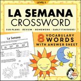 La Semana Spanish Days of the Week Crossword Worksheet