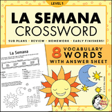 La Semana Spanish Days of the Week Crossword Worksheet