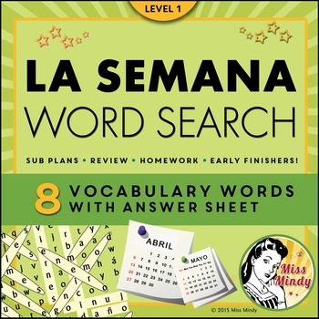 La Semana Spanish Days of the Week Word Search Puzzle