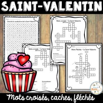 Saint-Valentin - Mots croisés, mots fléchés et mots cachés - Valentine's Day