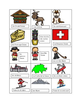 La Suisse Vocabulary French end of year activity