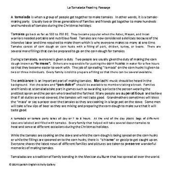 La Tamalada Reading Passage and Comprehension Activities