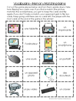 La Technologie - French Technology Vocabulary Activities and Quiz (Grade 4-7)