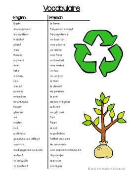 La Terre et L'Environnement - French Vocabulary Acitvities and Quiz (Gr. 4-7)