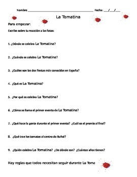 La Tomatina:  Comprehension Questions