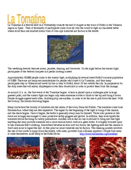 La Tomatina Cultural Lesson Great for Subs - World's Largest Food Fight!