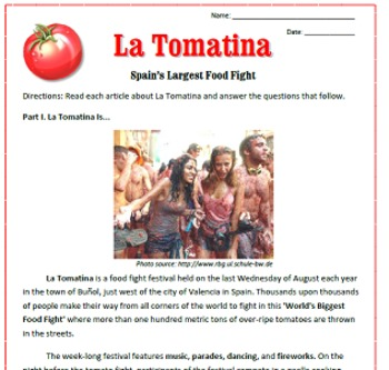La Tomatina: Reading, Activities & Substitute Plan for Spa