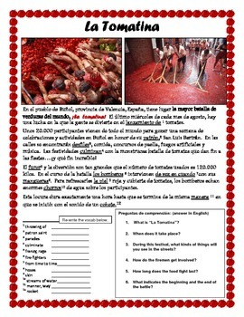 La Tomatina Spanish Culture (reading comprehension)