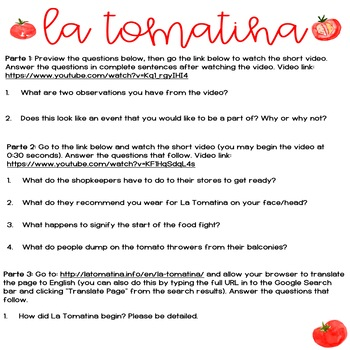 La Tomatina Webquest