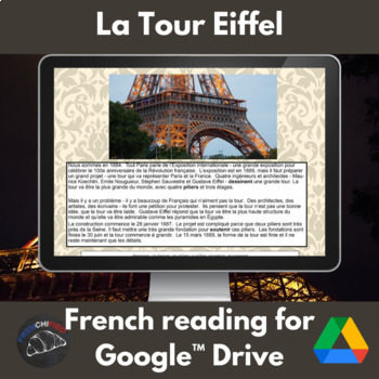 La Tour Eiffel - reading for French students for Google Drive