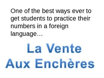 La Vente aux Enchères - The fun way to learn numbers in French