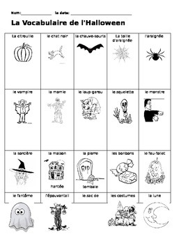 La Vocabulaire de l'Halloween