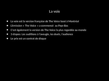 La Voix- Discussing music in French