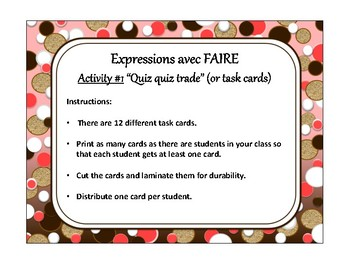 Expressions avec faire, quiz quiz trade, fan & pick, speaking in French