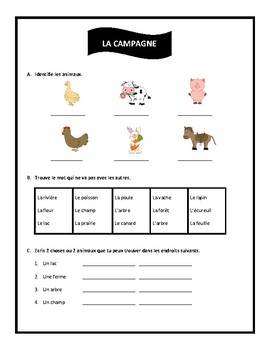 La campagne, worksheet in French, Discovering French Blanc