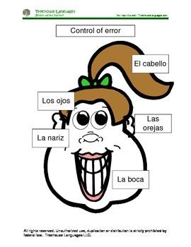 La cara -the face.