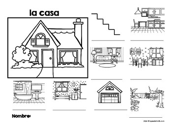 La casa (Spanish House Diagram, Vocabulary and labeling)