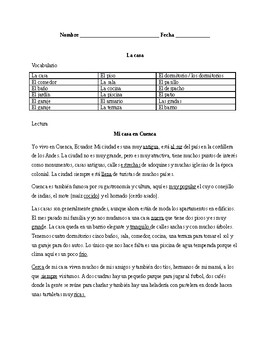Realidades 1. The house. Quiz / Activities