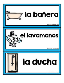 La casa (Word Wall / Vocab Cards, Memory game) Spanish House