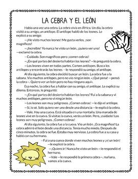 La cebra y el león - A fable in simple Spanish