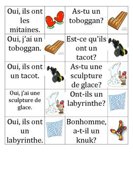 La chaîne parlée - Avoir au Carnaval (Question and answer race cards)