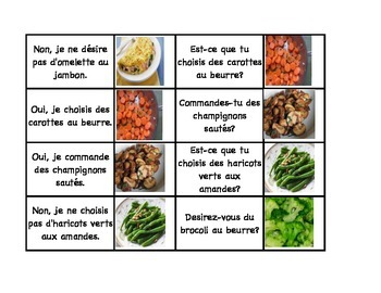 La chaîne parlée (Question & Answer Race Cards) - Au restaurant