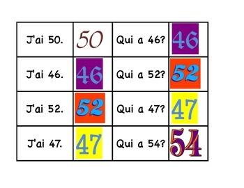 La chaîne parlée (Question & Answer race cards) - Les numéros