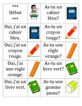 La chaîne parlée - l'école (Question and Answer race cards)