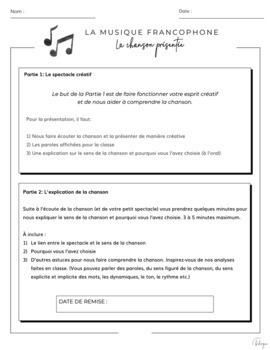 La musique francophone: Présenter une chanson / French Music Project