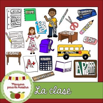 La clase/la escuela Spanish clipart - visual vocabulary