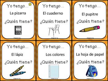 La clase y materiales escolares - Yo tengo, ¿Quién tiene? game