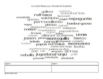 La comida- Matamoscas- Spanish 1 Vocabulary Activity
