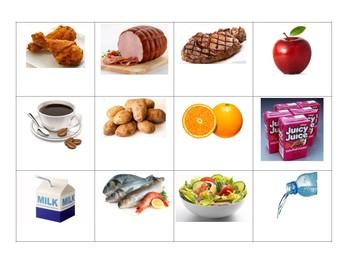 La comida - Matching game cards