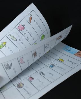 La comida Vocabulary Booklet for Interactive Notebooks in Spanish
