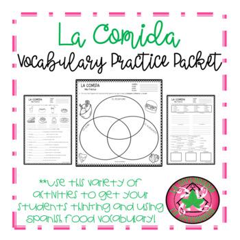 La comida Vocabulary Practice Packet (Food)