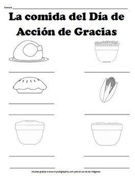 La comida del Día de Acción de Gracias Worksheet